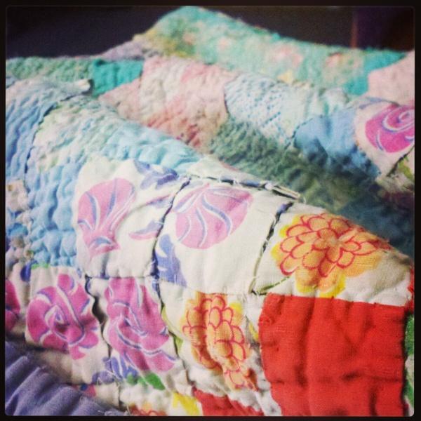 my great grandma's homemade quilt